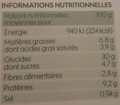 Pizza 3 fromages bio cuite au feu de bois - Informations nutritionnelles