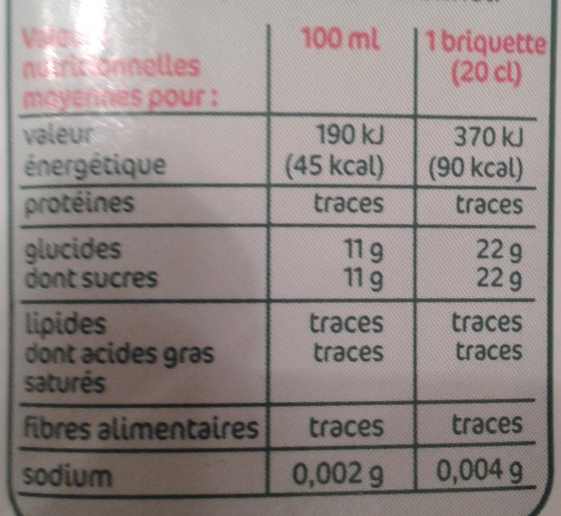 Pur jus de pomme bio - Nutrition facts - fr