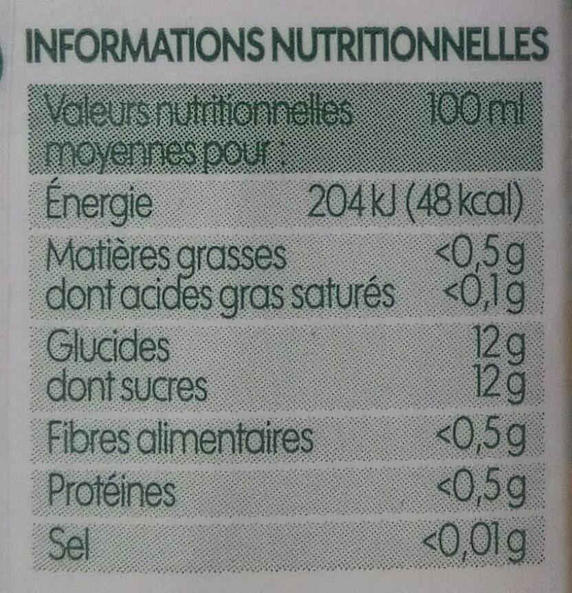 Pur jus multifruits bio - Voedingswaarden - fr