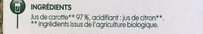 Pur jus de carotte bio - Ingrédients