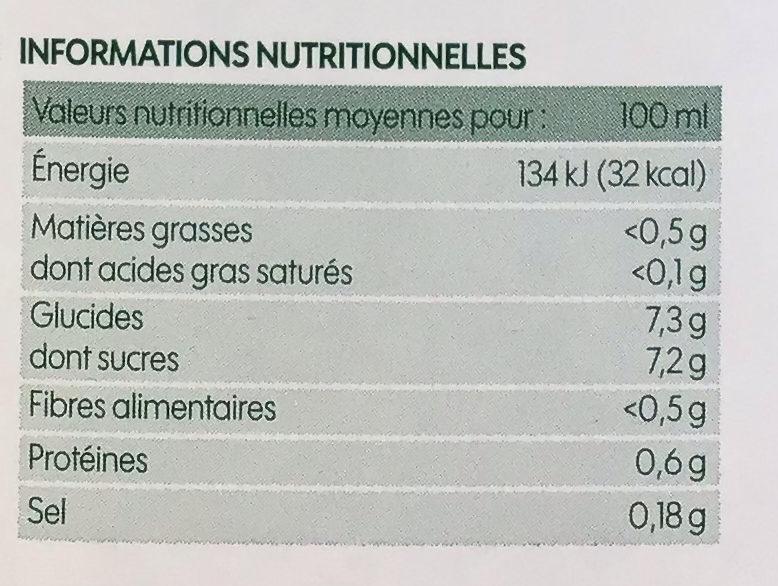 Pur jus de carotte bio - Nutrition facts - fr