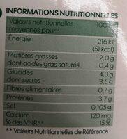 Boisson au soja calcium bio - Informazioni nutrizionali - fr