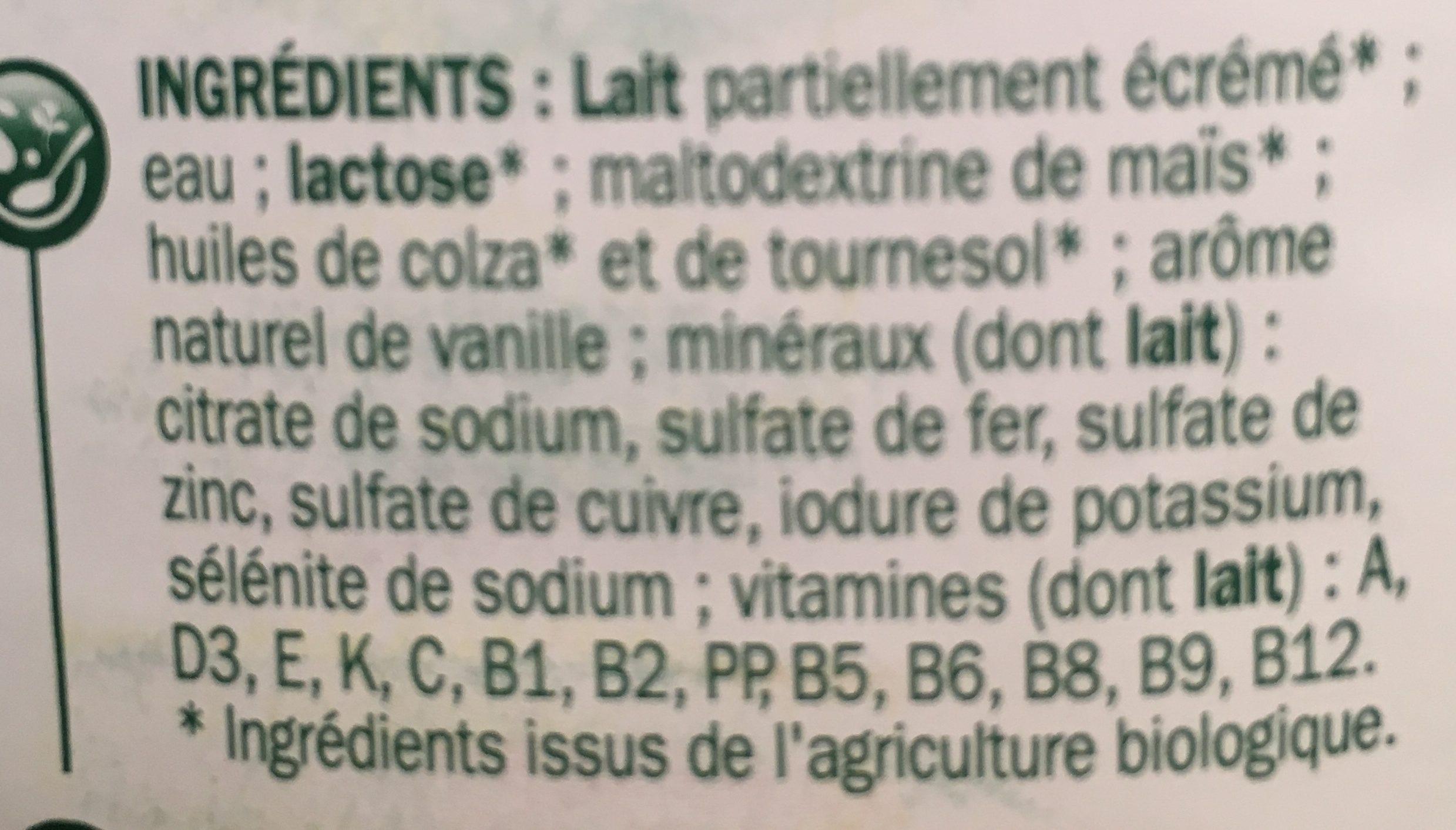 Lait de croissance bio bouteille - Ingredients - fr