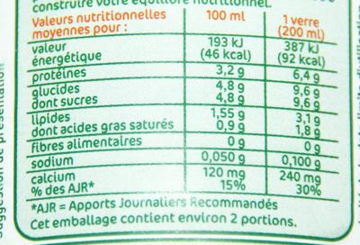 Lait Demi-Écrémé stérilisé UHT - Informations nutritionnelles