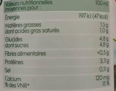 Lait Demi-Écrémé stérilisé UHT - Informations nutritionnelles - fr