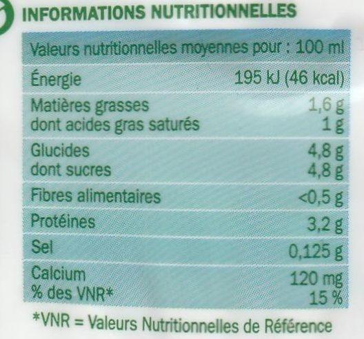 Lait demi-écrémé bio bouteille - Informations nutritionnelles - fr