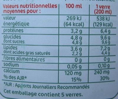 Lait UHT entier bio - Informations nutritionnelles