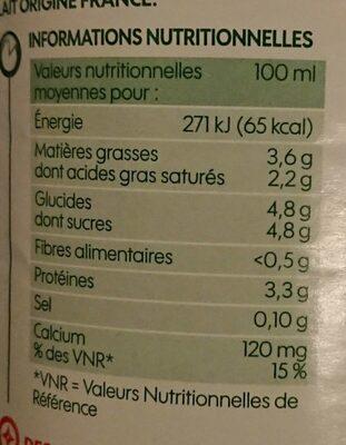 Lait UHT entier bio - Valori nutrizionali - fr