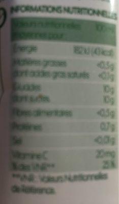 100% Pur Jus d'orange - Voedingswaarden