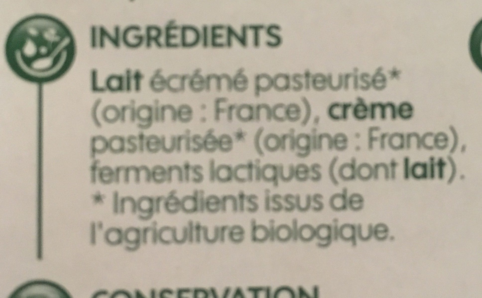 Fromages frais natures bio - Ingredients - fr