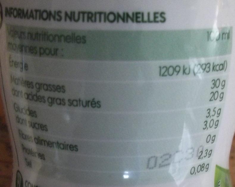 Crème Fluide Entière - Nutrition facts
