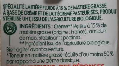 Crème légère liquide bio 15% Mat. Gr. 20 cl x 3 - Ingrediënten