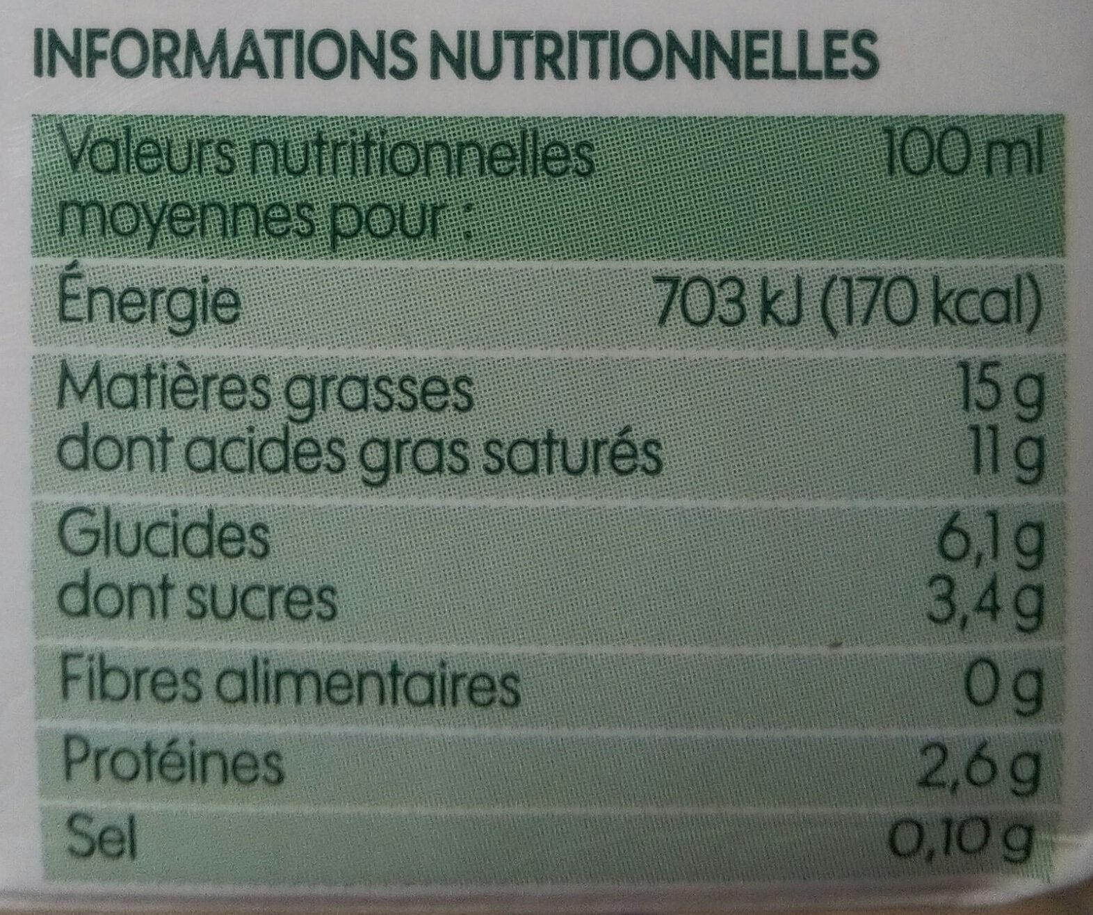Crème légère liquide bio 15% Mat. Gr. 20 cl x 3 - Voedigswaarden