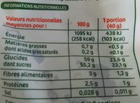 Raisins moelleux bio - Informations nutritionnelles