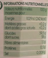 Confiture extra Abricots - Informations nutritionnelles