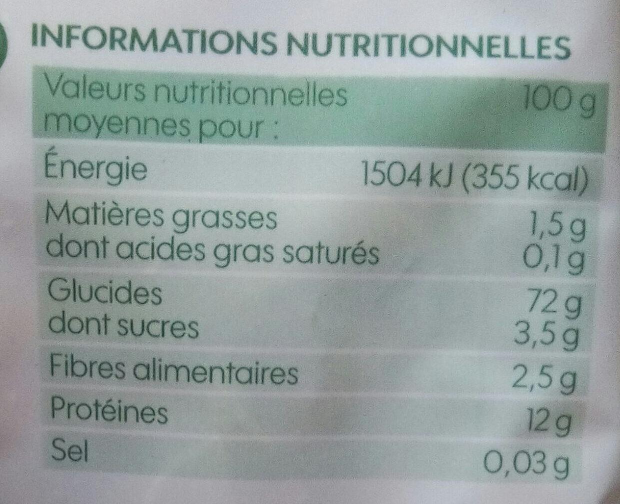 Pennes bio - Informations nutritionnelles
