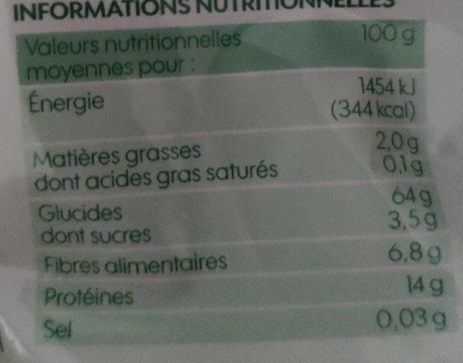 Farfalles au blé complet bio - Informations nutritionnelles - fr