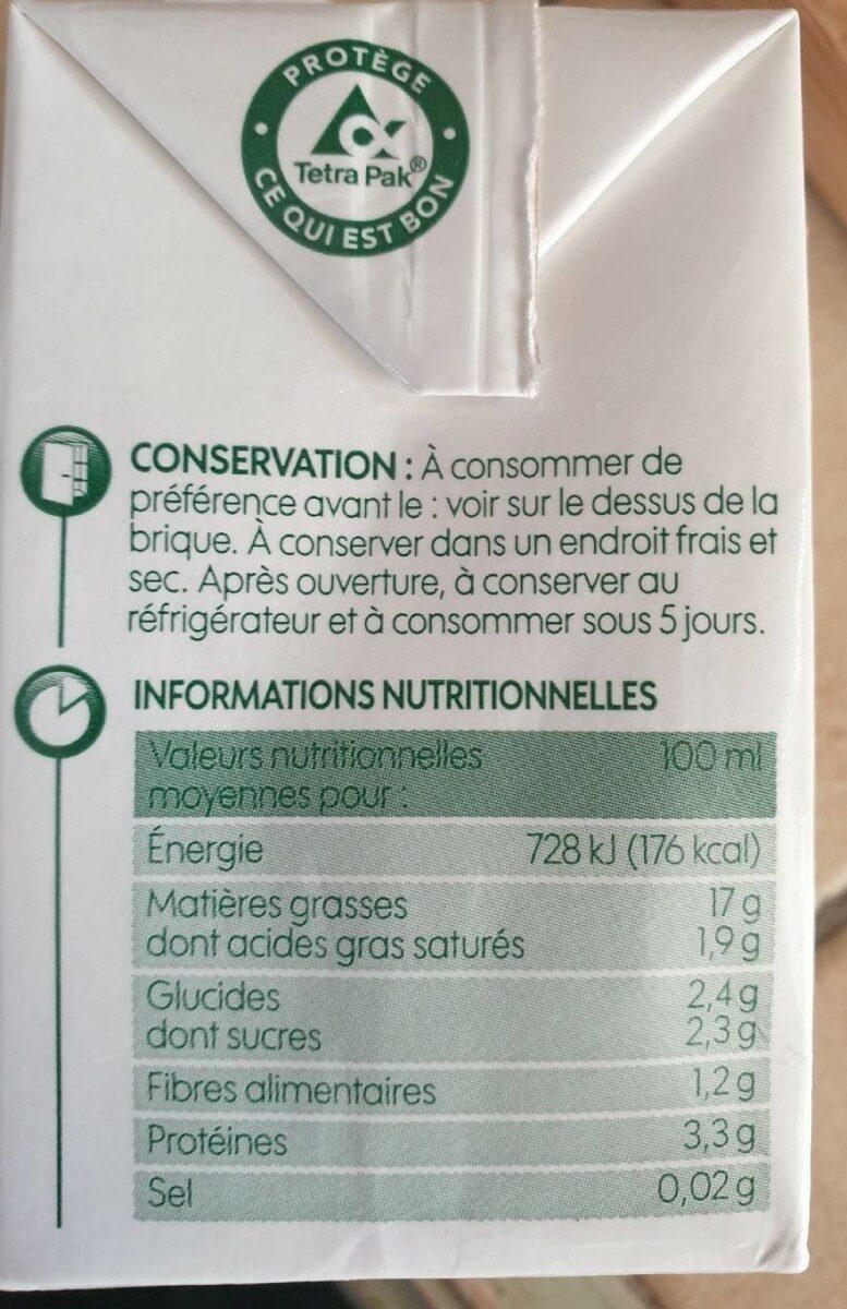 Préparation culinaire au soja bio 200 ml x 3 - Informations nutritionnelles - fr
