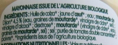 Mayonnaise à la moutarde de Dijon bio - Ingrediënten - fr