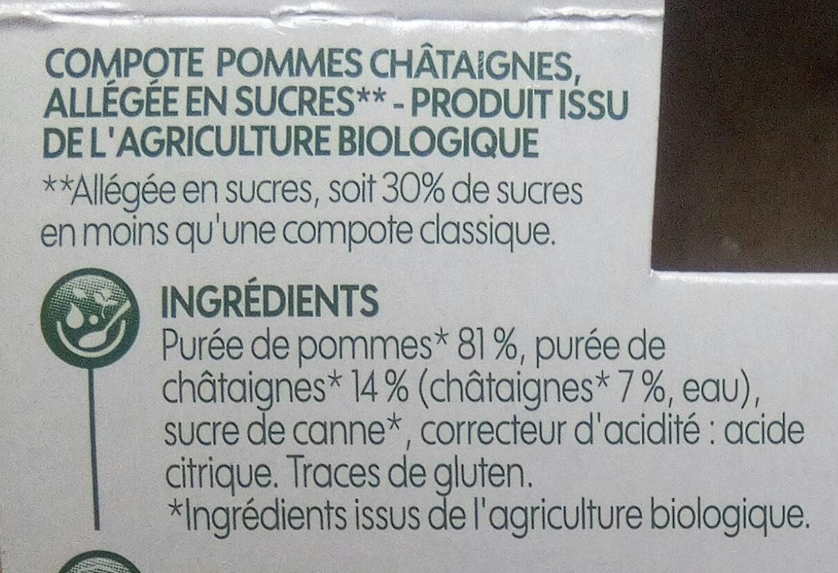 Compote pomme châtaigne bio x 4 - Ingrédients