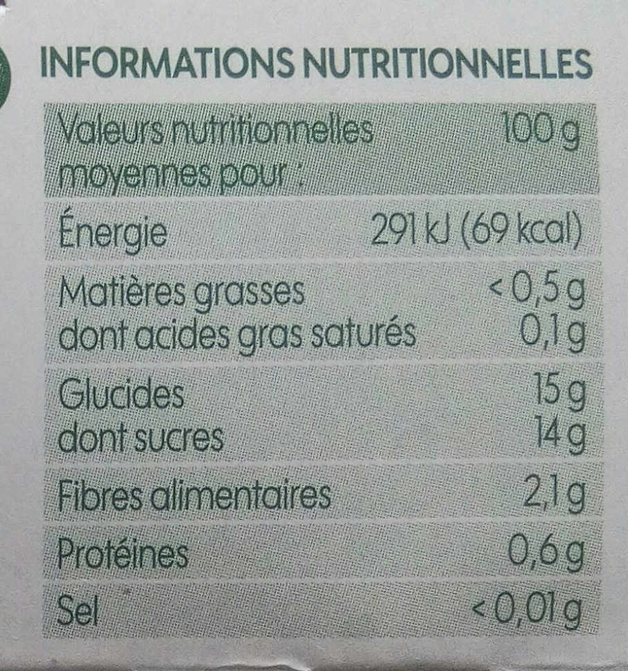 Compote pomme châtaigne bio x 4 - Informations nutritionnelles