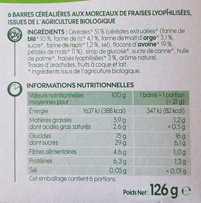 Barre céréales fraise biovillage - Ingredients