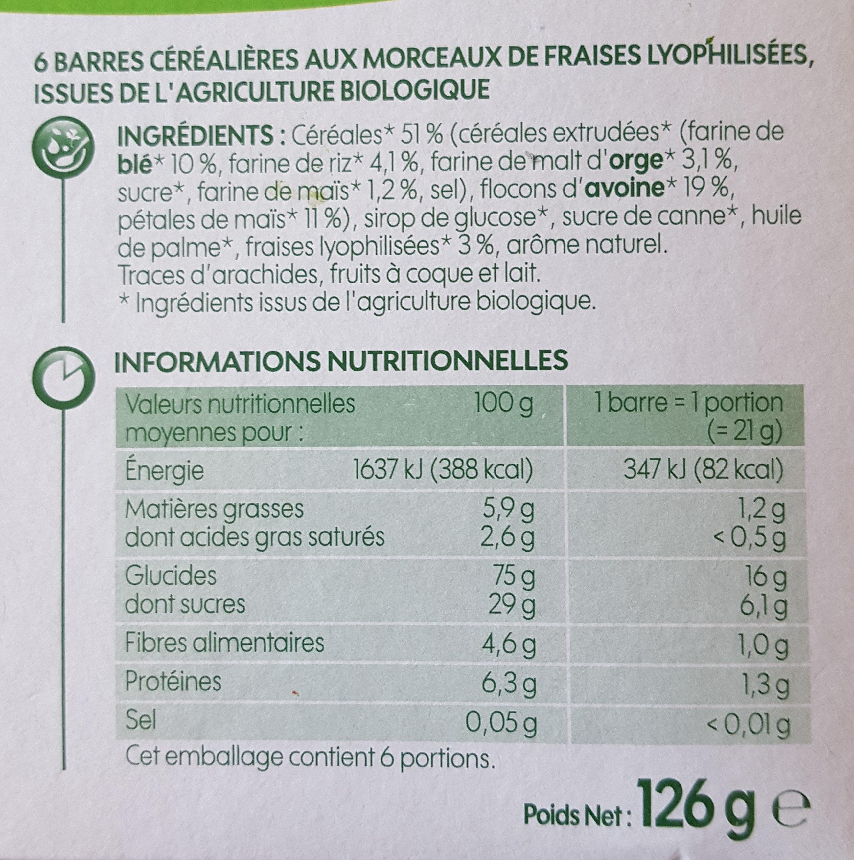 Barres céréales bio fraise x 6 - Ingrédients - fr