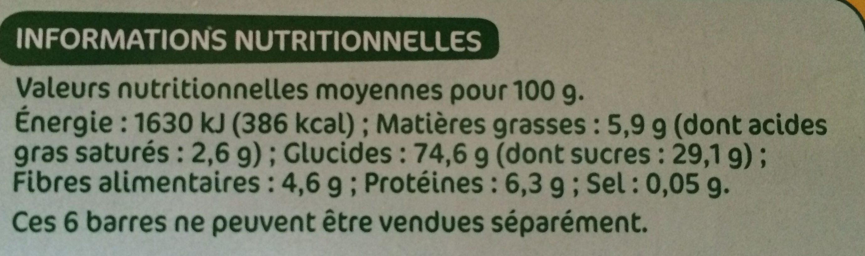 Barres céréales bio fraise x 6 - Informations nutritionnelles - fr