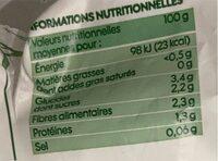 Julienne de légumes bio - Nutrition facts - fr