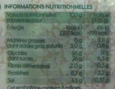 Crêpes nature bio x 8 - Voedingswaarden