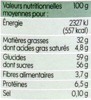 Pâte à tartiner bio - Nutrition facts - fr