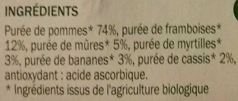 Purée de fruits pomme et fruits rouges sans sucres ajoutés x 4 - Ingrediënten - fr