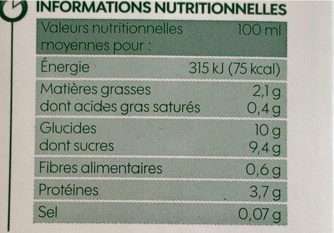 Boisson au soja saveur chocolat bio - Valori nutrizionali - fr