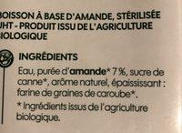 Lait amande intense bio - Ingrediënten - fr