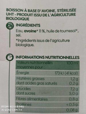 Boisson d'avoine bio - Nutrition facts - fr