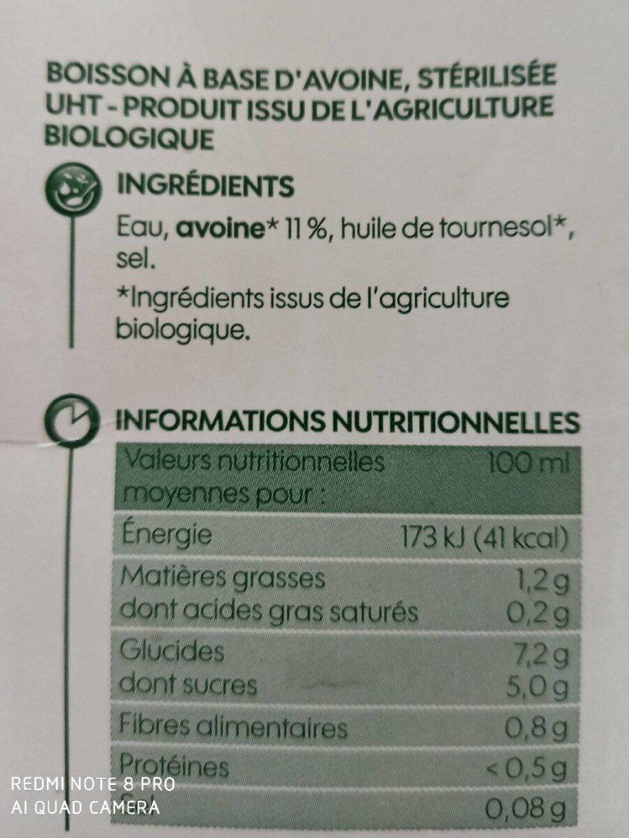 Boisson d'avoine bio - Valori nutrizionali - fr