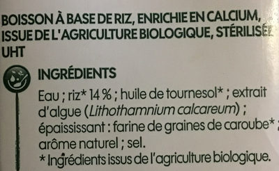 Boisson au riz bio - Ingredients - fr