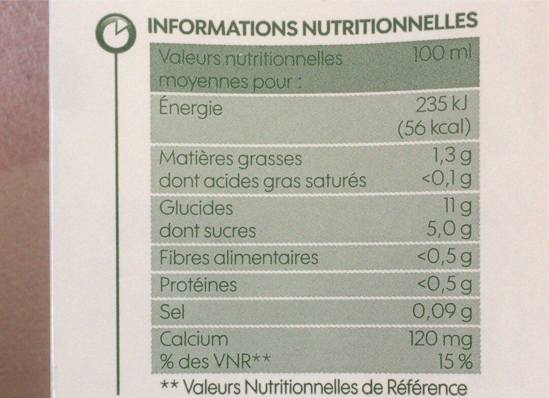 Boisson au riz bio - Informations nutritionnelles - fr