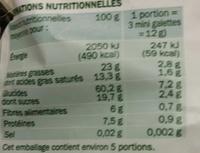 Mini galettes de riz bio chocolat noir - Informations nutritionnelles - fr