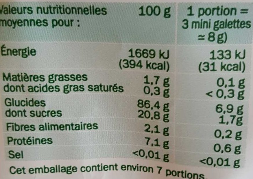 Mini galettes de riz bio au miel - Voedingswaarden