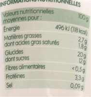 Riz au lait bio à la vanille - Nährwertangaben - fr