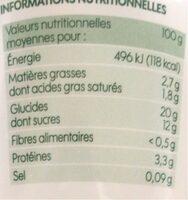 Riz au lait bio à la vanille - Valori nutrizionali - fr