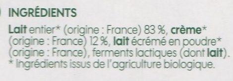 Yaourt à la grecque bio au lait entier x 2 - Ingrédients