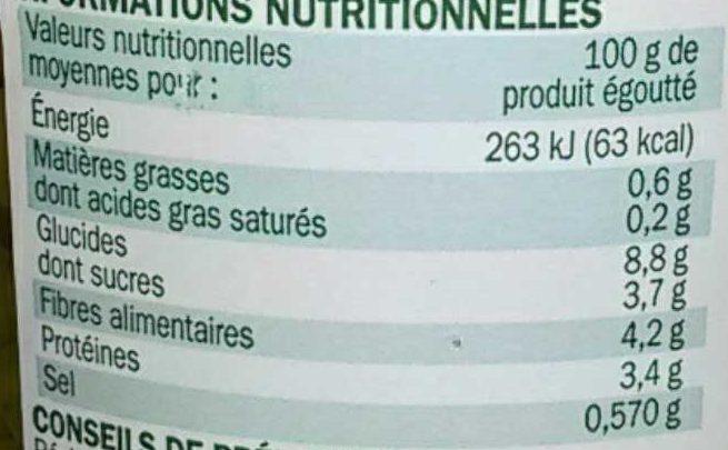 Petits pois carottes extra fins bio - bocal - Información nutricional - fr