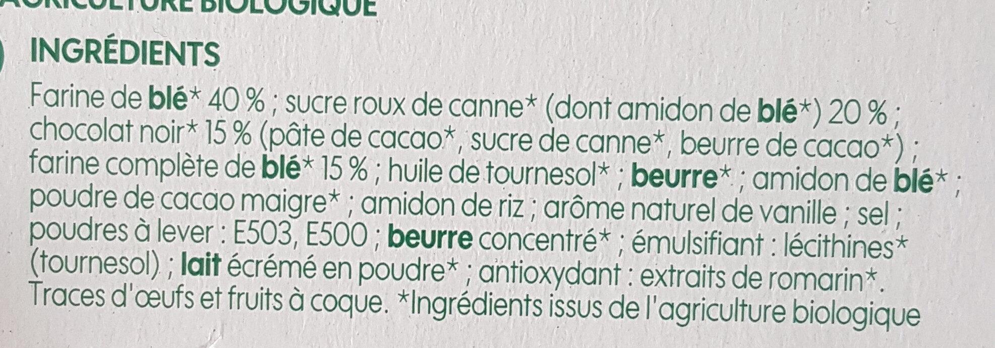 Goûters au blé complet fourrés chocolat noir bio - Ingrédients - fr