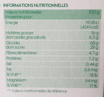 Goûters au blé complet fourrés chocolat noir bio - Informations nutritionnelles - fr