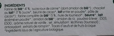Goûters au blé complet fourrés chocolat au lait bio - Ingredients