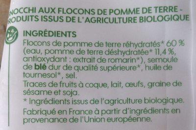 Gnocchi bio - Ingrédients - fr