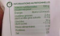 Gnocchi bio - Informations nutritionnelles - fr