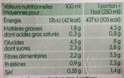 Velouté de légumes saveurs du sud bio - Informations nutritionnelles - fr